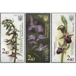 3 عدد تمبر گلهای ارکیده  - اوکراین 2015