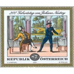 1 عدد تمبر 200مین سالگرد تولد جان نستروی  - اتریش 2001