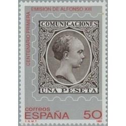 1 عدد تمبر بمناسبت صدمین سالگرد انتشار اولین تمبر با تصویر آلفونزو هشتم - اسپانیا 1989