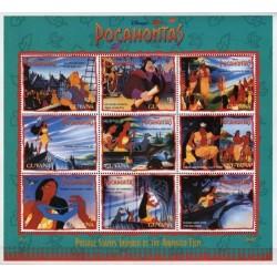 مینی شیت کاراکترهای کارتونی والت دیسنی - پوکوهانتس - 3 - گویانا 1995