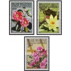 3 عدد تمبر گلها - باغ گیاه شناسی در گنت - بلژیک 1970