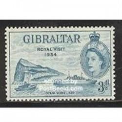 1 عدد تمبر بازدید سلطنتی - جبل الطارق 1954