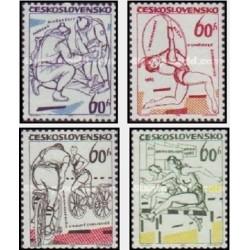 4 عدد تمبر وقایع ورزشی سال 65 - چک اسلواکی 1965