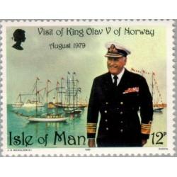 1 عدد تمبر بازدید شاه اولاف - جزیره من 1980