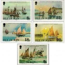 5 عدد تمبر کشتیها - یادبود صدمین سالگرد ناوگان ماهیگیری قدیمی -  جزیره من 1981