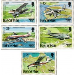 5 عدد تمبر 50مین سالگرد حمل و نقل هوائی -  جزیره من 1984 قیمت 7.4 دلار