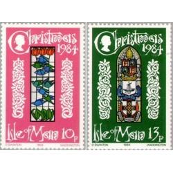 2 عدد تمبر کریستمس -  جزیره من 1984