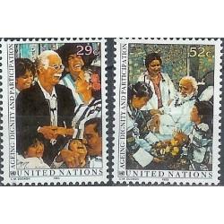 2 عدد تمبر سالخوردگی عزت و مشارکت - دهمین برنامه بین المللی سالمندی - نیویورک سازمان ملل 1993 قیمت 2 دلار