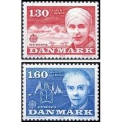 2 عدد تمبر مشترک اروپا - Europa Cept - مشاهیر - دانمارک 1980