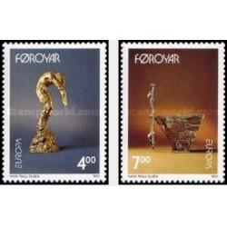 2 عدد تمبر مشترک اروپا - Europa Cept - هنر معاصر - جزایر فارو 1993