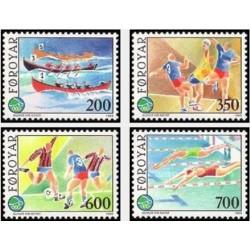 4 عدد تمبر مسابقات ورزشی جزیره  - جزایر فارو 1989 قیمت 6.8 دلار