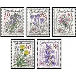 5 عدد تمبر 25مین سالگرد سرویس نجات کوهستان - گلها-  چک اسلواکی 1979