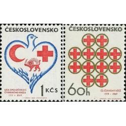 2 عدد تمبر صلیب سرخ - شیر و خورشید - چک اسلواکی 1969