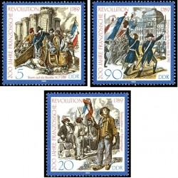 3 عدد تمبر دویستمین سالروز انقلاب فرانسه -  جمهوری دموکراتیک آلمان 1989