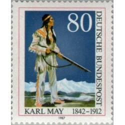 1 عدد تمبر یادبود درگذشت کارل می - نویسنده - جمهوری فدرال آلمان 1987