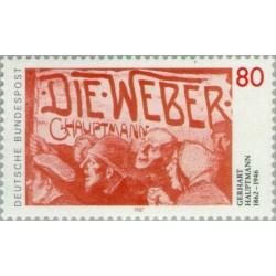 1 عدد تمبر 125مین سال تولد گرهارد هاپتمان - شاعر - جمهوری فدرال آلمان 1987