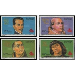 4 عدد تمبر پانصدمین سالگرد آمریکا - اسپانیا 1991