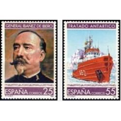 2 عدد تمبر علم و تکنولوژی - سالگرد عهدنامه قطب و  مرگ کارلوس ایبانز - اسپانیا 1991