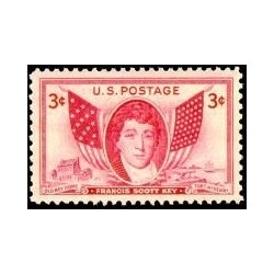 1 عدد تمبر یادبود فرانسیس اسکات کی - حقوقدان - آمریکا 1948