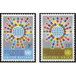 2 عدد تمبر فدراسیون جهانی سازمان ملل متحد یا WFUNA - نیویورک سازمان ملل 1966