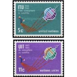 2 عدد تمبر صدمین سالگرد اتحادیه بین المللی مخابرات - نیویورک سازمان ملل 1965