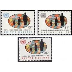 3 عدد تمبر رشد و توسعه جمعیت  - نیویورک سازمان ملل 1965