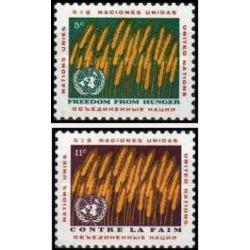 2 عدد تمبر نجات از گرسنگی - نیویورک سازمان ملل 1963