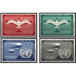 4 عدد تمبر سری پستی - پست هوائی - نیویورک سازمان ملل 1951