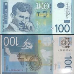 اسکناس 100 دینار - تصویر نیکولا تسلا - صربستان 2013