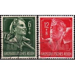 2 عدد تمبر عوارض خستگی  - رایش آلمان 1944 مهر خورده