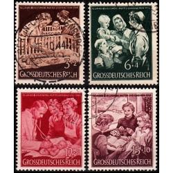 4 عدد تمبر خیریه - مادر و فرزند - رایش آلمان 1944 مهر خورده