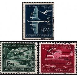 3 عدد تمبر بیست و پنجمین سالگرد پست هوائی - رایش آلمان 1944 مهر خورده
