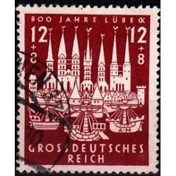 1 عدد تمبر 800 سالگی شهر لوبک - رایش آلمان 1943مهرخورده