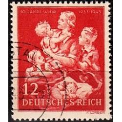 1 عدد تمبر دهمین سال کمکهای زمستانه - رایش آلمان 1943  مهرخورده