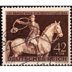 1 عدد تمبر مسابقات اسب دوانی - اوراق قرضه قهوه ای-  رایش آلمان 1943  مهرخورده