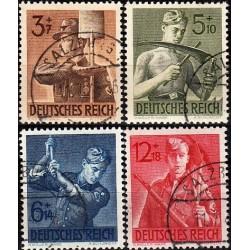 4 عدد تمبر خدمات کار - رایش آلمان 1943  مهرخورده