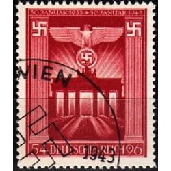 1 عدد تمبر دهمین سال بدست گرفتن قدرت  - رایش آلمان 1943 مهرخورده