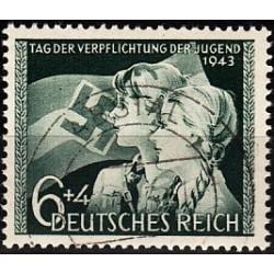1 عدد تمبر روز جوانان - رایش آلمان 1943  مهرخورده