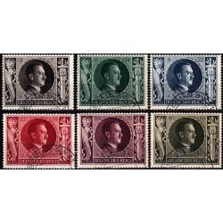 6 عدد تمبر پنجاه و چهارمین سالگرد تولد هیتلر - رایش آلمان 1943  مهرخورده