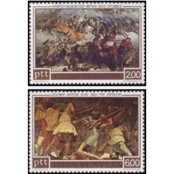 2 عدد تمبر پانصدمین سال قیام  اسوونی و قیام کرواتها - تابلو نقاشی - یوگوسلاوی 1973