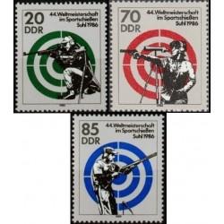 3 عدد تمبر مسابقات جهانی تیراندازی ورزشی - جمهوری دموکراتیک آلمان 1986