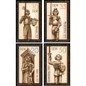 4 عدد تمبر مجسمه های تاریخی - رولند - جمهوری دموکراتیک آلمان 1987