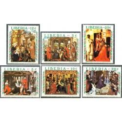 6 عدد تمبرکریستمس - تابلوهای نقاشی کاتولیک - لیبریا 1970