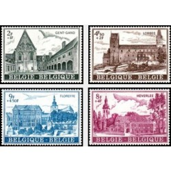 4 عدد تمبر نسخه فرهنگی - بناهای تاریخی - بلژیک 1973
