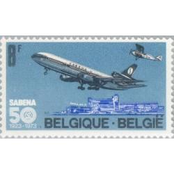1 عدد تمبر پنجامین سال هواپیمائی سابنا - بلژیک 1973