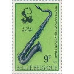 1 عدد تمبر یادبود آدولف ساکس - مخترع ساکسیفون - بلژیک 1973