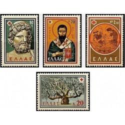 4 عدد تمبر کنگره بین المللی صلیب سرخ -  یونان 1959 توضیح دارد - حاشیه یکی از تمبرها لک دارد