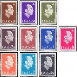10 عدد تمبر یادبود شاه پائول -  یونان 1964 قیمت 10 دلار