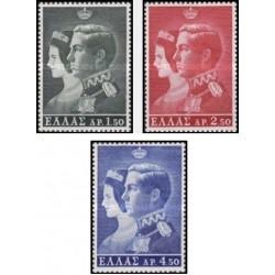 3 عدد تمبر ازدواج شاه کنستانتین و ملکه آن ماری -  یونان 1964