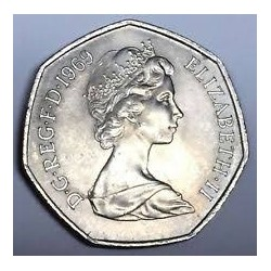 سکه 50 پنس نیکل مس - انگلیس 1969 غیر بانکی